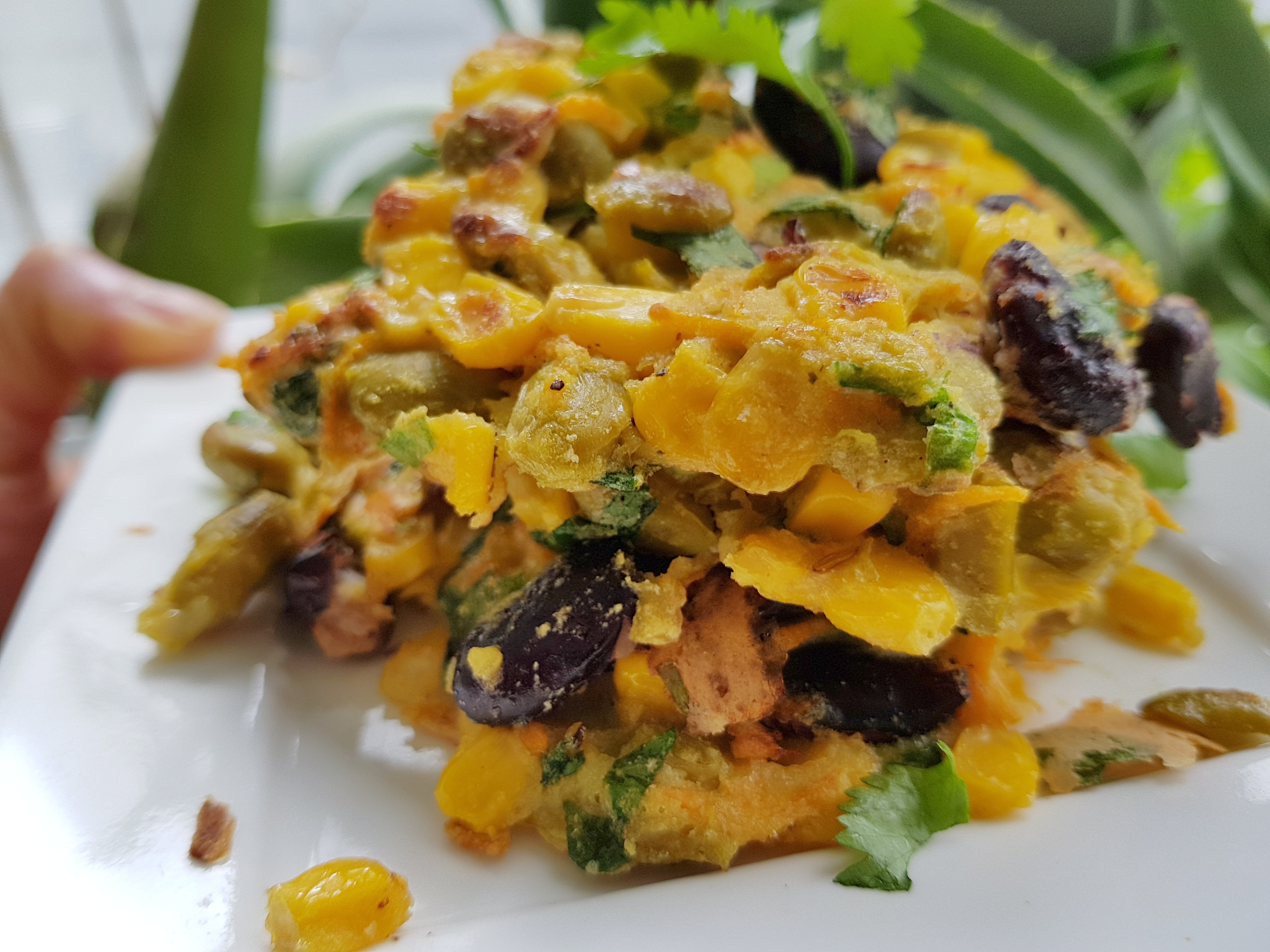 Corn and bean fritters for quick and healthy lunch