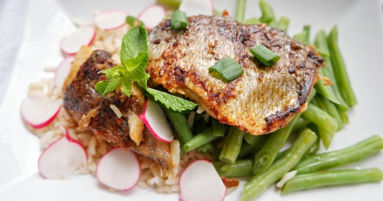 Asian-style grilled seabass