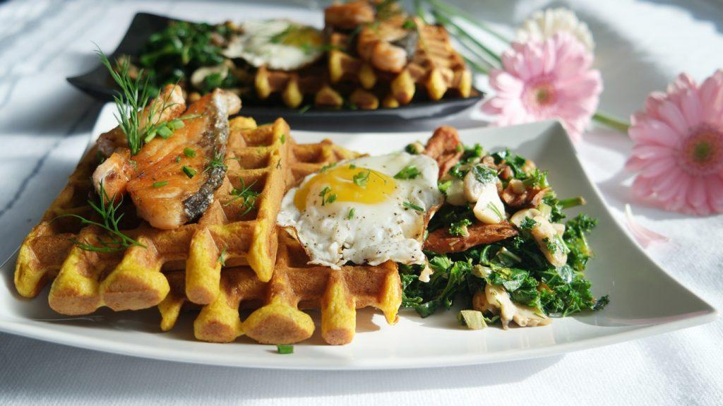 Savoury Pumpkin Corn Waffles with Seared Salmon, Sauteed Mushroom Kale