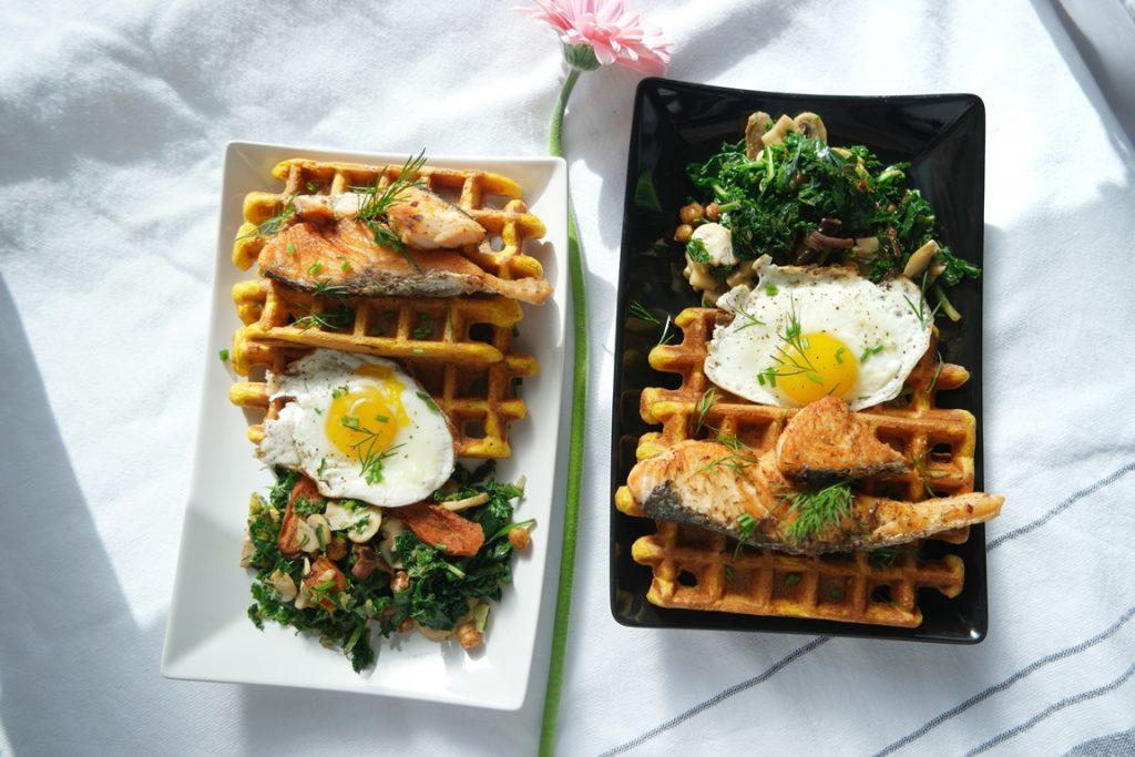 Savoury Cornmeal Waffles with Seared Salmon, Sauteed Mushroom Kale