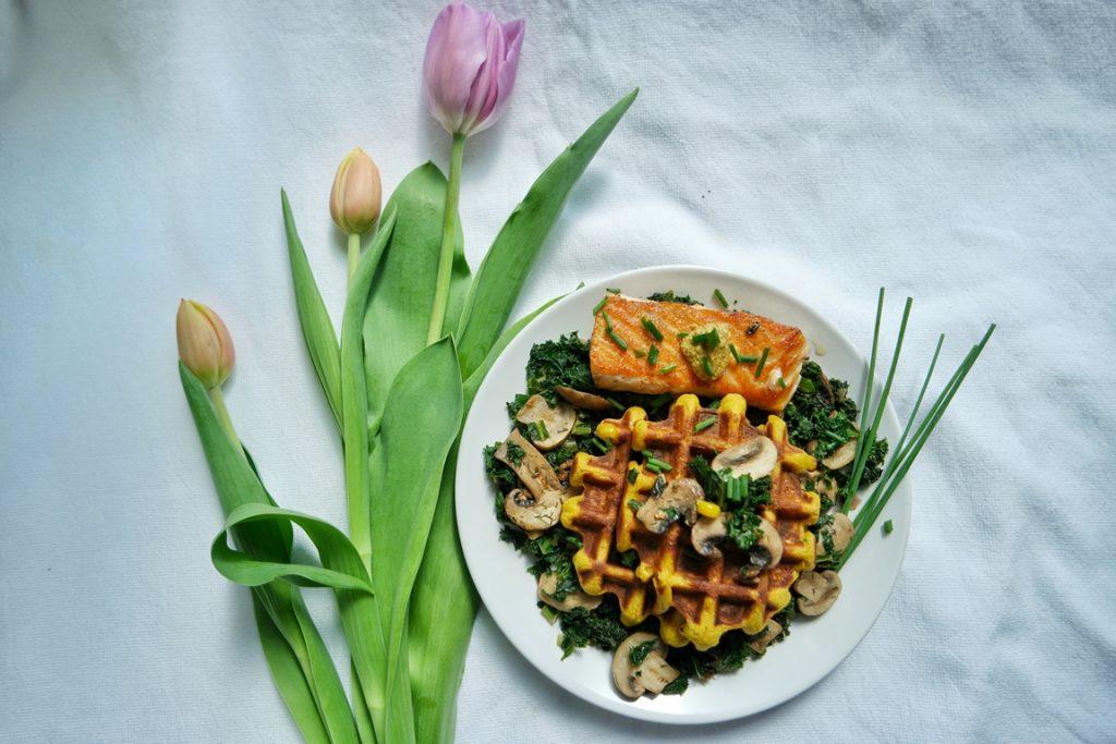Crunchy Pumpkin Corn Waffles with Seared Salmon, Sauteed Mushroom Kale
