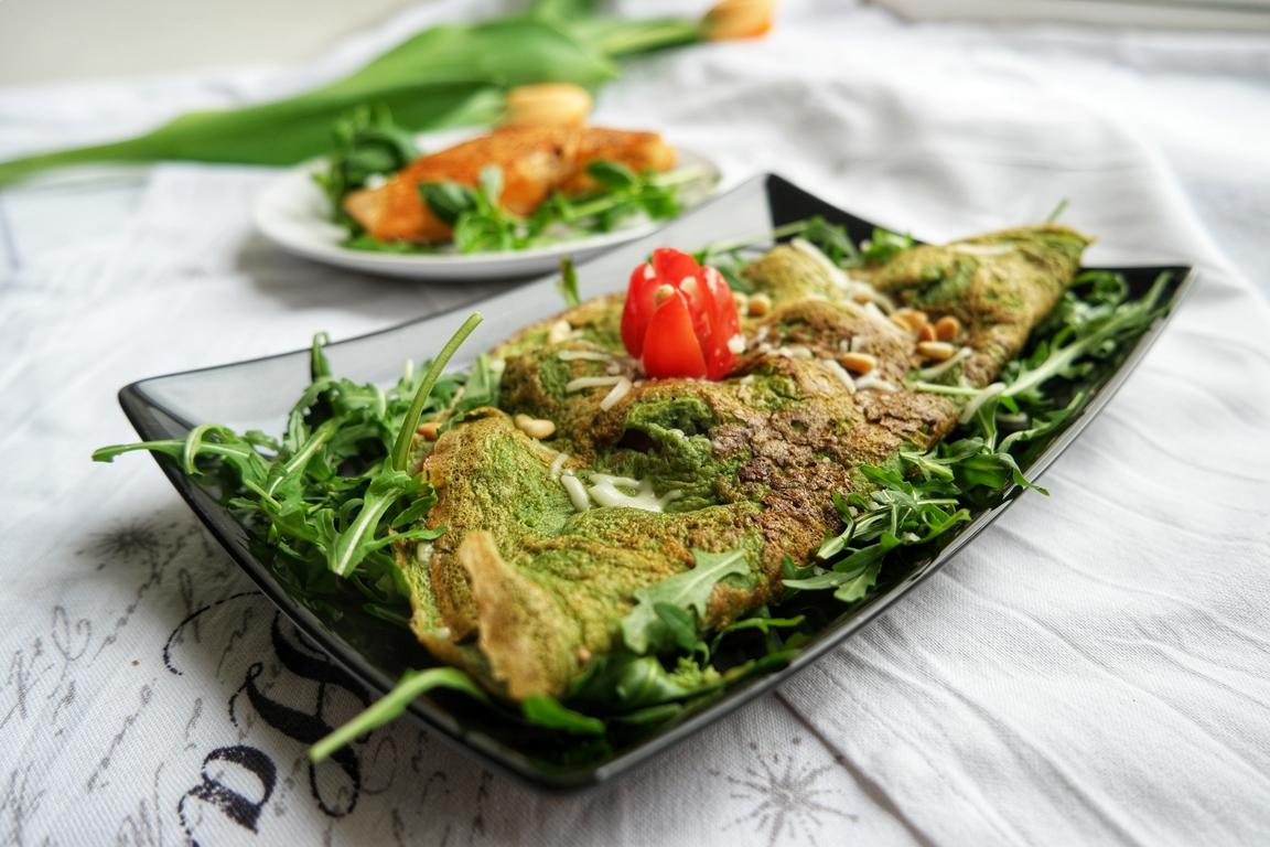 Healthy breakfast with green omelette (Vegetarian, GF)