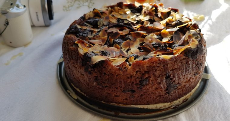 Healthy Chocolate Pear Almond Cake (Vegan, Gluten-free)