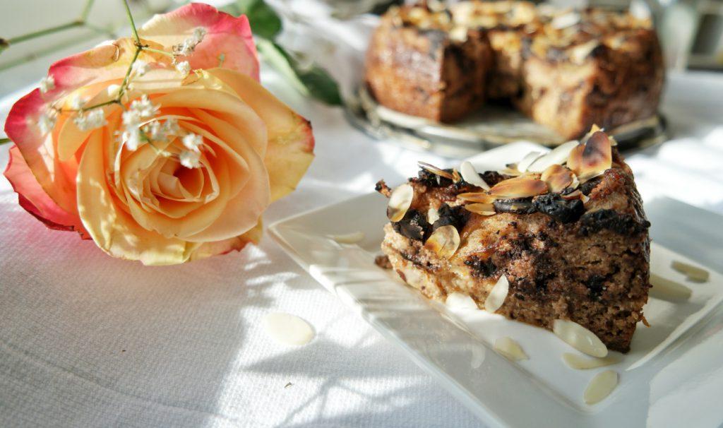 Chocolate Pear Almond Cake Slice