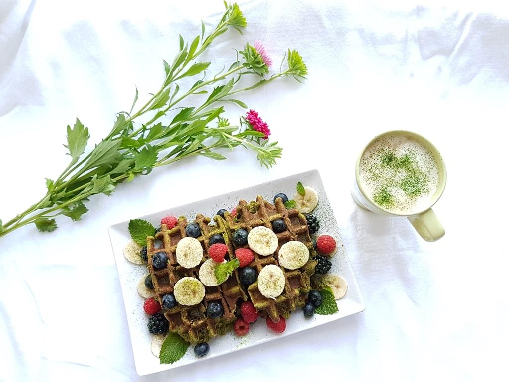 The Best Vegan Coconut Matcha Waffles