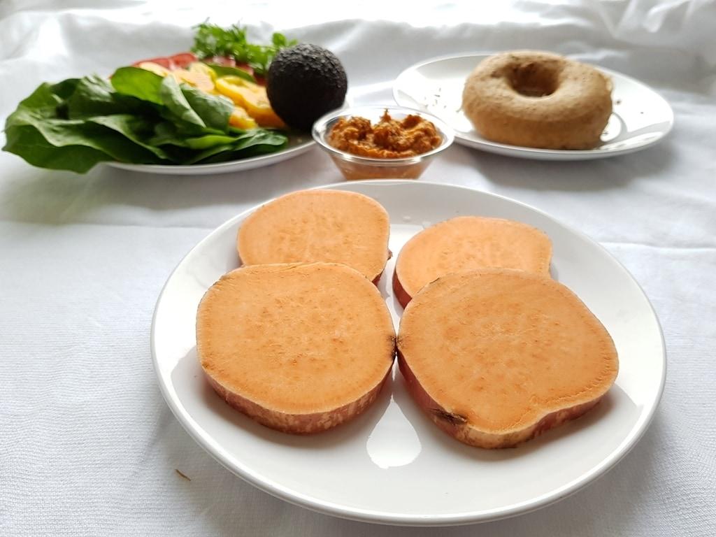 Bun-less sweet potato burger