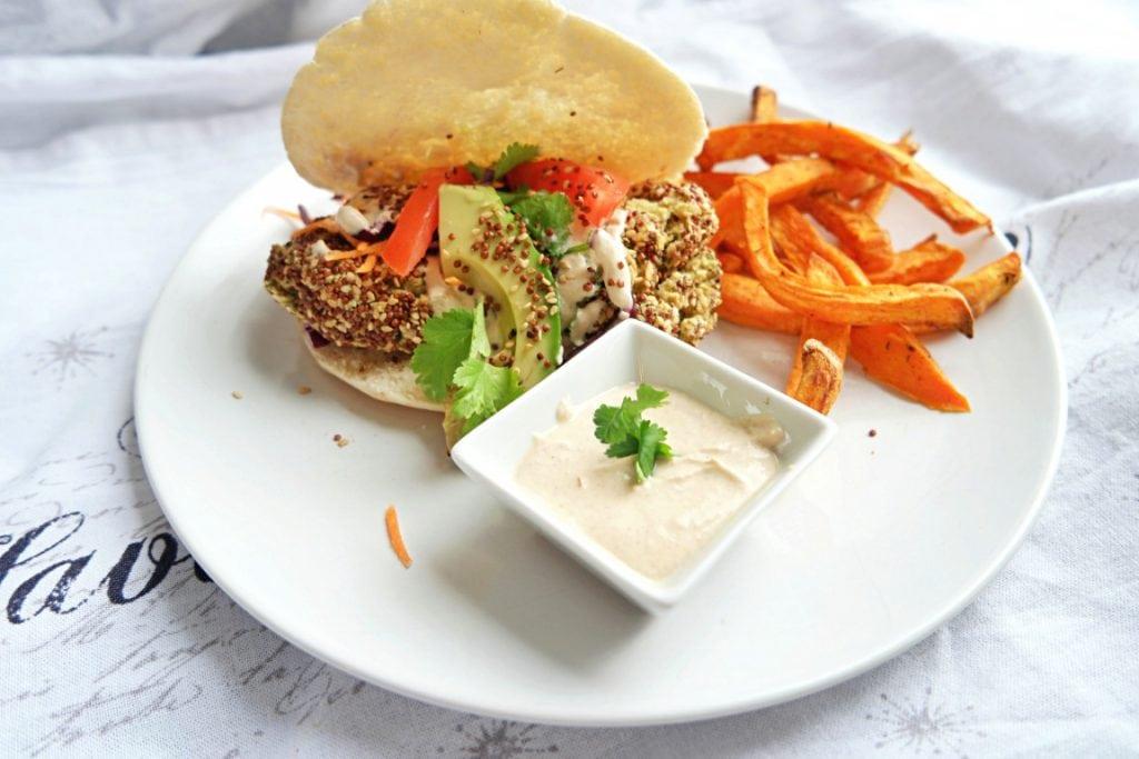 Quinoa Crusted Falafels with Tahini Yogurt Dipping Sauce