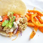 Quinoa Crusted Lentil Falafels with sweet potato chips