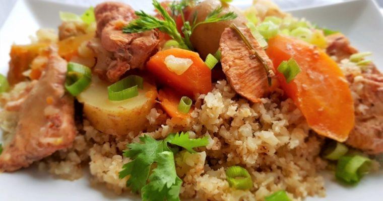 Crock-pot chicken stew with cauliflower rice